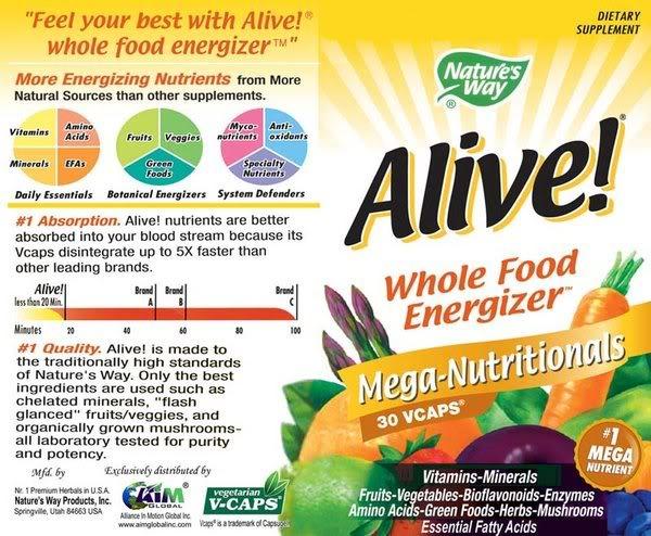 FS: ALIVE! Mega Nutritionals Food Supplement (Original) Product-Brochure