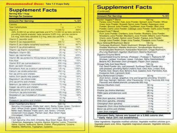 FS: ALIVE! Mega Nutritionals Food Supplement (Original) Supplemental20facts