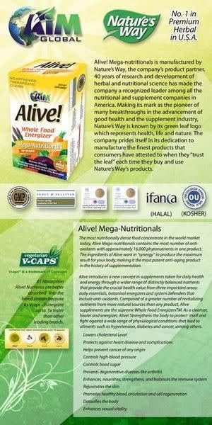 FS: ALIVE! Mega Nutritionals Food Supplement (Original) Alive
