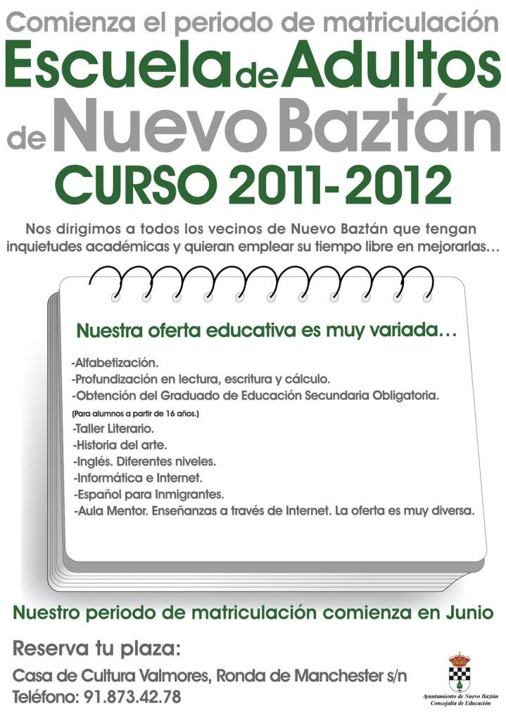Nuevo Baztán: Escuela de Adultos, Curso 2011-2012 Cartel_escueladeadultos20112012