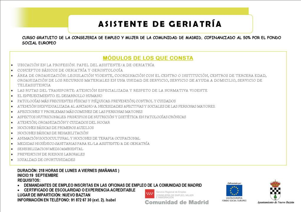 Nuevo Baztán: Curso Desempleados Asistente de Geriatría Julio_cartel_asistente_geriatria