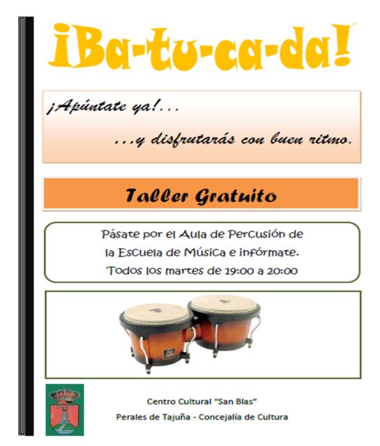 """Perales de Tajuña: Taller gratuito sobre el ritmo de la percusión """"Batucada"""" Tallerbatucada-1"""