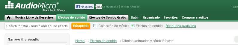 Banco de sonidos, descarga gratuita (efectos especiales para vídeos y películas caseras) Audiomicro