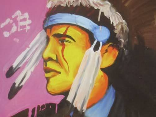 Обама, племя кроу ObamaAsIndianChiefNativeAmerican