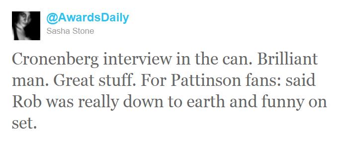 Sasha Stone (AwardDaily) a interviewé David Cronenberg...  Tweet1