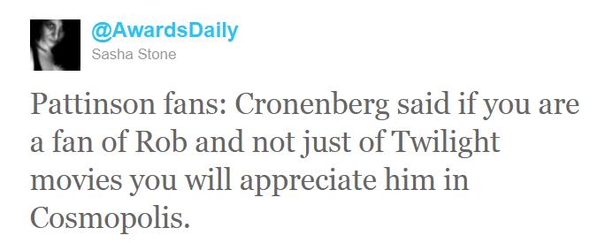 Sasha Stone (AwardDaily) a interviewé David Cronenberg...  Tweet2