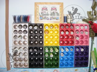 Organizzare fili, gomitoli, nastri e stoffe Portafili
