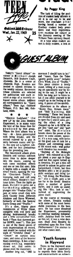 Electric Ladyland (1968) OaklandTribune1-22-69