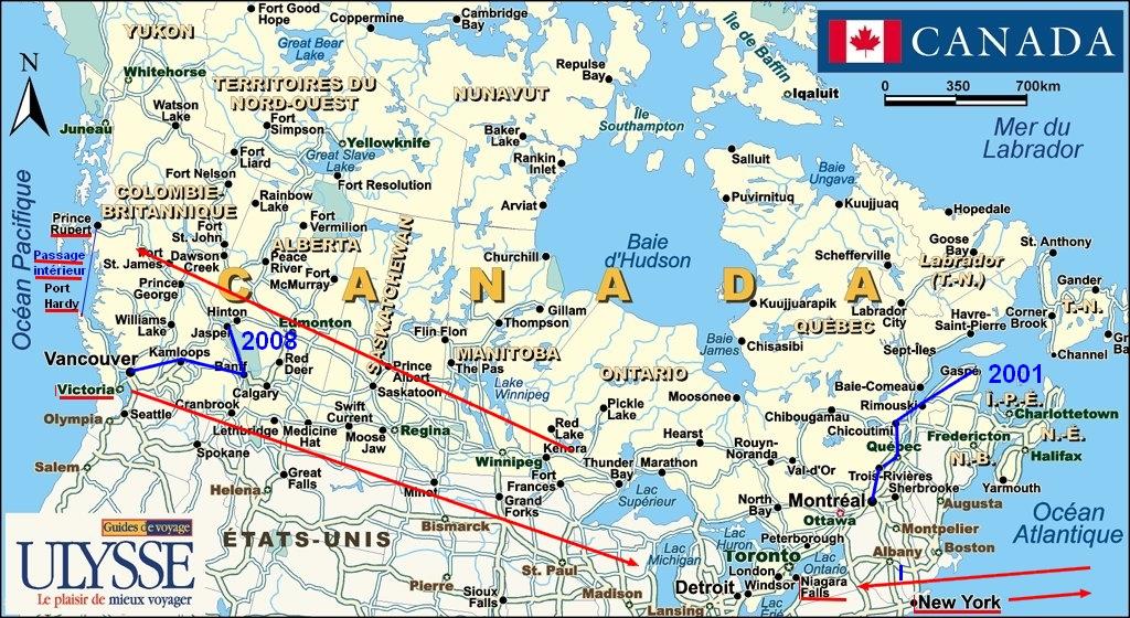 2013 Amérique du Nord:  Partie 1: Niagara Falls - Prince Rupert - Passage Intérieur Mapcircui2t