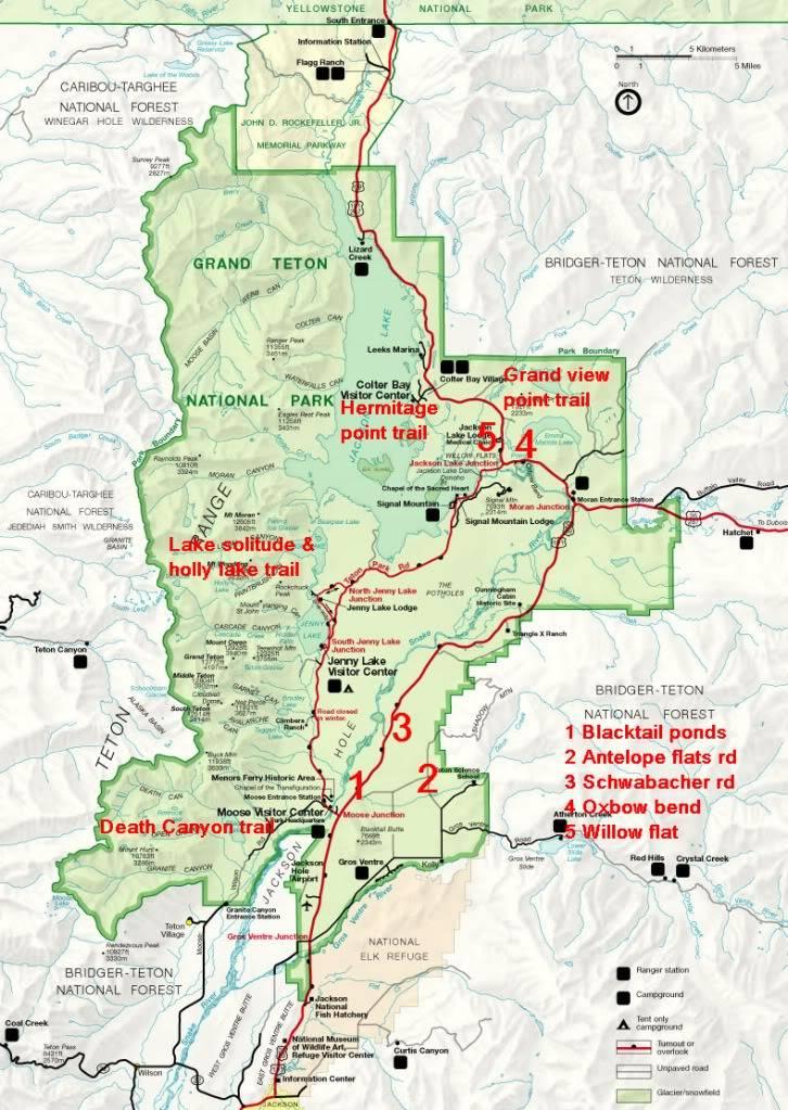 De Grand teton à Glacier en passant par Yellowstone: Partie 1 Grand Teton CarteGT-1
