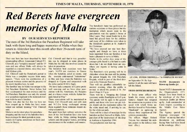 Farwell Malta 1970, A Report In The Times Of Malta By Lt Col P.I Chiswell GoodByMalta