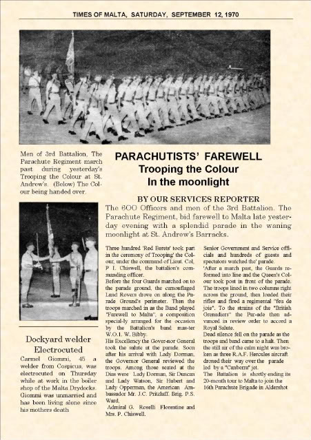 3 Para Trooping The Colour By Moonlight At St Andrew's Barracks, Malta, 1970. (As Reported By The Times Of Malta 1970) MaltaParade