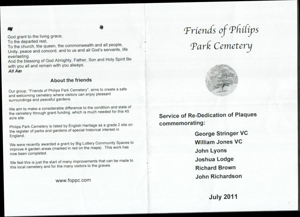 Philips Park Cemetery. 24th July 2011 Service or Re-Dedication of Plaques Commemorating. 579641cb