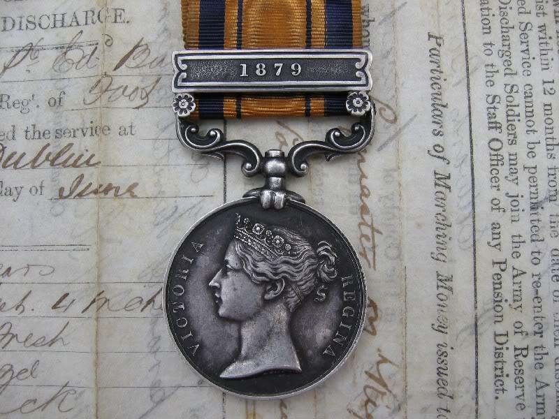 South Africa 1877-79 Zulu Medal , bar 1879 to 333 Pte E.Burns 57th Foot. 8GR67m