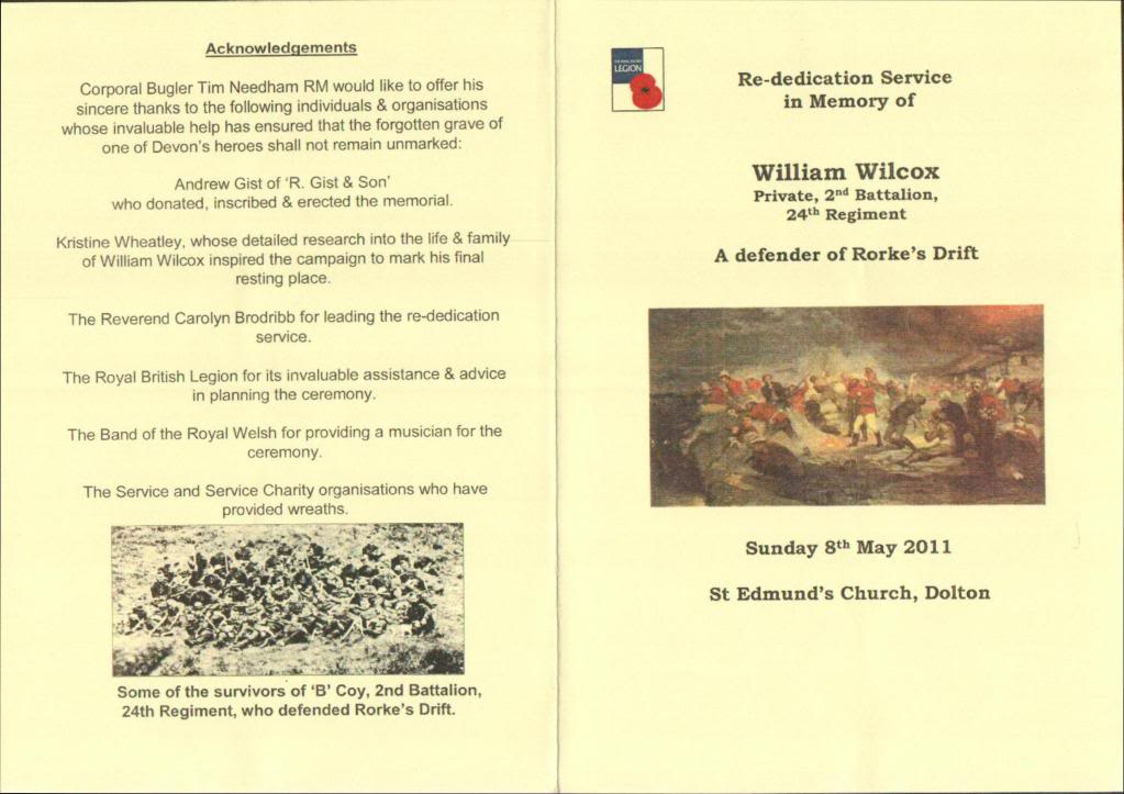 A Rededication Ceremony In Memory of Rorke's Drift Defender William Wilcox. 8th May 2011 Dolton Devon. D2696350