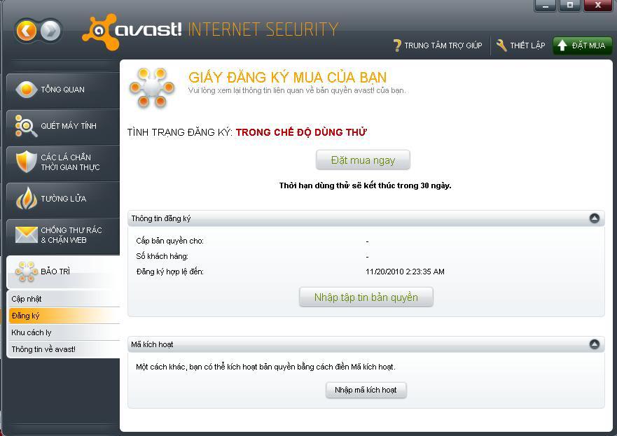 Avast! Internet Security 5.0.667 Bản quyền đến năm 2025  4-1