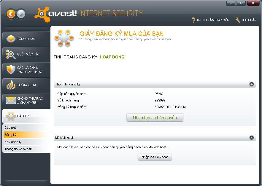 Avast! Internet Security 5.0.667 Bản quyền đến năm 2025  7