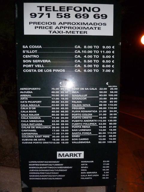 Cala Bona Taxi prices 2012 CBtaxi1