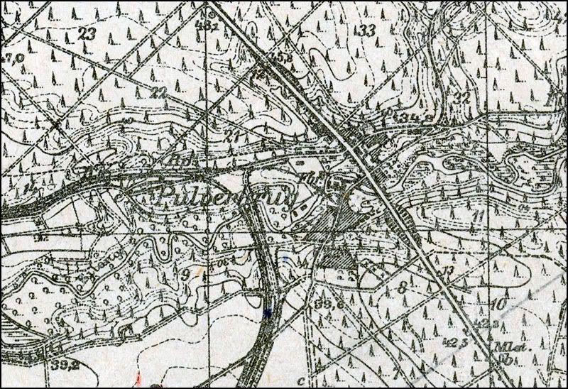 Ruiny młyna papierniczego w Rosiejewie- Papier und Zelullosenfabrik  Pulverkrug Zt059