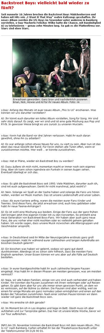 NEW AJ McLean Interview [15 October 09] About Kevin R., their Fans and the new BSB Album Nordbayerischer-KURIERdeNACHRICHTEN