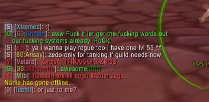 Reaction( bruiser ) profanity in guild chat . lol ? ZOMGswearing