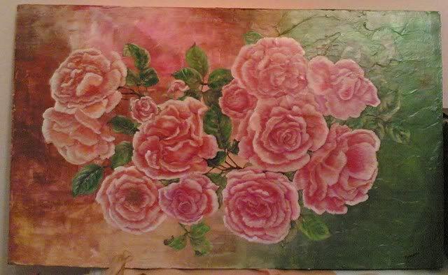 Quadro rose su fondo pittorico moderno 05012005008-1