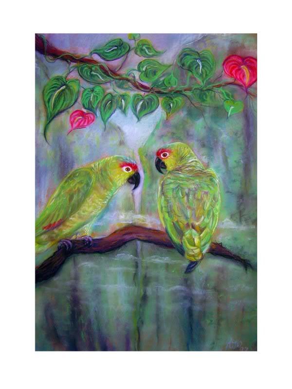 Some animal art of mine Amazonparrots-1