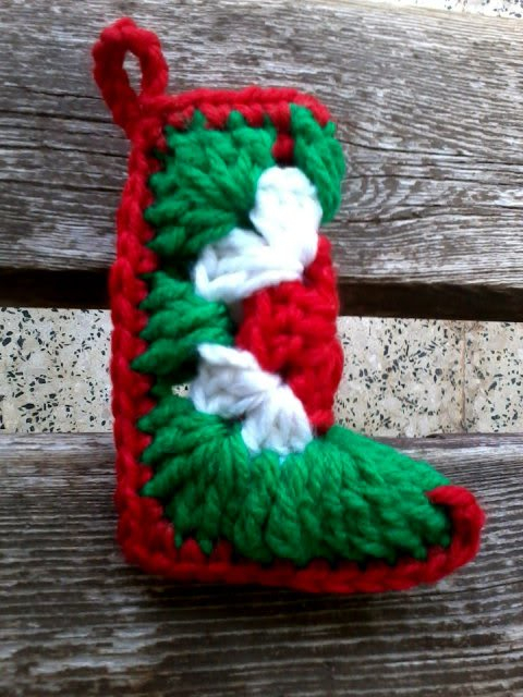 Christmas in July!...Let's make some ornies!!! Crocheted-Santa-Boot-2-B