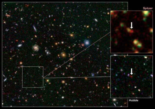 Astronomers Discover Rare Galaxy at Dawn of Time 111221211227-large