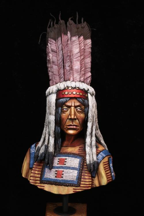 Buste Blackfoot Warrior FINI Etape16