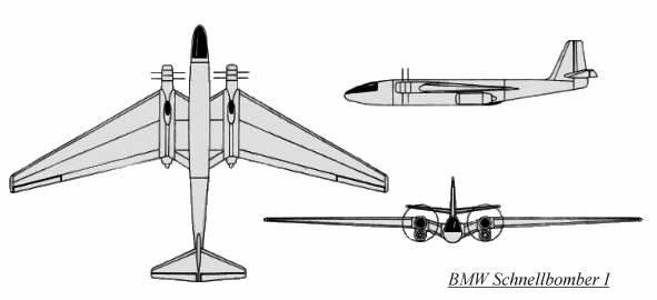 PROYECTOS INCONCLUSOS DE LA AERONÁUTICA ALEMANA DE LA S.G.M. - Página 9 Bmw_schnellbomber_1_dibujo