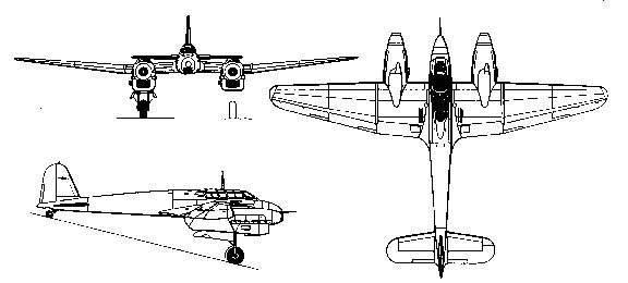 PROYECTOS INCONCLUSOS DE LA AERONÁUTICA ALEMANA DE LA S.G.M. - Página 9 Focke_wulf_fw_187_dibujo
