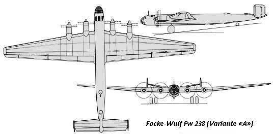 PROYECTOS INCONCLUSOS DE LA AERONÁUTICA ALEMANA DE LA S.G.M. - Página 9 Focke_wulf_fw_238_dibujo_variante-A