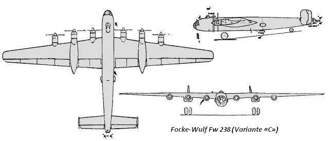 PROYECTOS INCONCLUSOS DE LA AERONÁUTICA ALEMANA DE LA S.G.M. - Página 9 Focke_wulf_fw_238_dibujo_variante_C