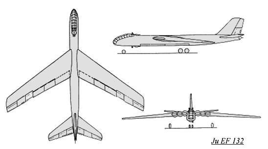 PROYECTOS INCONCLUSOS DE LA AERONÁUTICA ALEMANA DE LA S.G.M. - Página 9 Junkers_ju_ef_132_dibujo