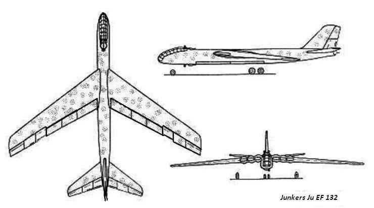 PROYECTOS INCONCLUSOS DE LA AERONÁUTICA ALEMANA DE LA S.G.M. - Página 9 Junkers_ju_ef_132_dibujo_dos