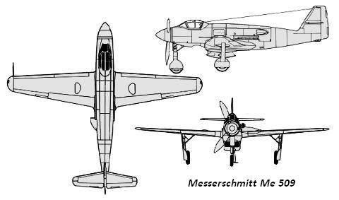 PROYECTOS INCONCLUSOS DE LA AERONÁUTICA ALEMANA DE LA S.G.M. - Página 9 Messerschmitt_me_509_dibujo