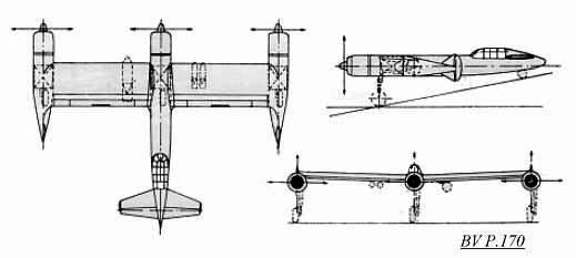 PROYECTOS INCONCLUSOS DE LA AERONÁUTICA ALEMANA DE LA S.G.M. Blohm_und_voss_bv_p_170_dibujo