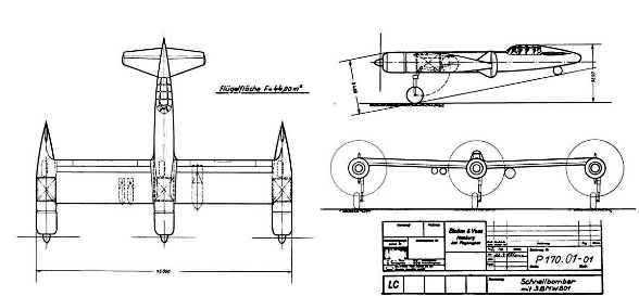 PROYECTOS INCONCLUSOS DE LA AERONÁUTICA ALEMANA DE LA S.G.M. Blohm_und_voss_bv_p_170_dibujo_uno