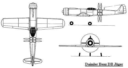PROYECTOS INCONCLUSOS DE LA AERONÁUTICA ALEMANA DE LA S.G.M. - Página 2 Daimler_benz_db_jager_dibujo