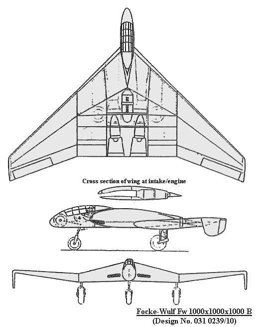 PROYECTOS INCONCLUSOS DE LA AERONÁUTICA ALEMANA DE LA S.G.M. Focke_wulf_fw_mil_mil_mil_B_dibujo