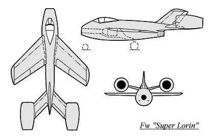 PROYECTOS INCONCLUSOS DE LA AERONÁUTICA ALEMANA DE LA S.G.M. Focke_wulf_fw_super_lorin_dibujo