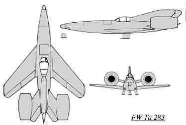 PROYECTOS INCONCLUSOS DE LA AERONÁUTICA ALEMANA DE LA S.G.M. - Página 2 Focke_wulf_fw_ta_283_dibujo