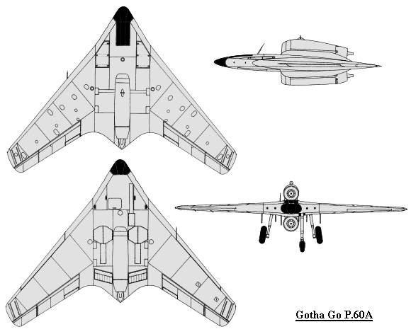 PROYECTOS INCONCLUSOS DE LA AERONÁUTICA ALEMANA DE LA S.G.M. Gotha_go_P_60_A_dibujo