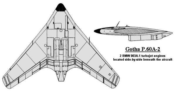 PROYECTOS INCONCLUSOS DE LA AERONÁUTICA ALEMANA DE LA S.G.M. Gotha_go_P_60_A_dos_dibujo