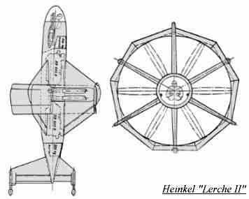 PROYECTOS INCONCLUSOS DE LA AERONÁUTICA ALEMANA DE LA S.G.M. Heinkel_lerche_dibujo
