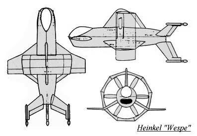 PROYECTOS INCONCLUSOS DE LA AERONÁUTICA ALEMANA DE LA S.G.M. Heinkel_wespe_dibujo