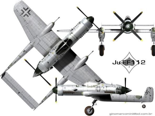 PROYECTOS INCONCLUSOS DE LA AERONÁUTICA ALEMANA DE LA S.G.M. Junkers_ju_EF_112_cinco