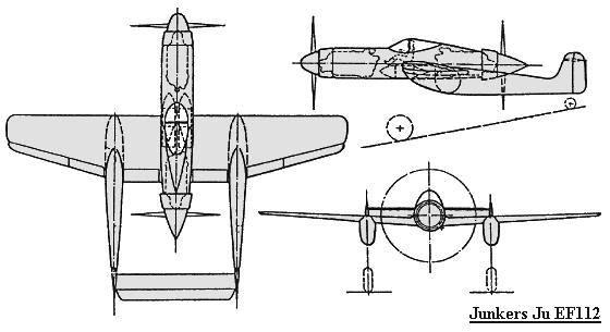 PROYECTOS INCONCLUSOS DE LA AERONÁUTICA ALEMANA DE LA S.G.M. Junkers_ju_EF_112_dibujo