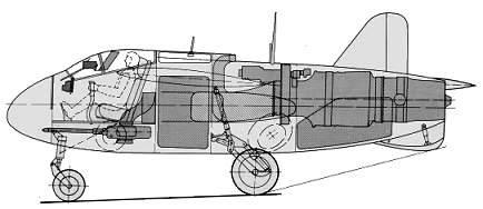 PROYECTOS INCONCLUSOS DE LA AERONÁUTICA ALEMANA DE LA S.G.M. Junkers_ju_ef_128_corte